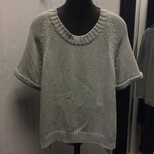 Banana Republic gray with gold shimmer sweater top